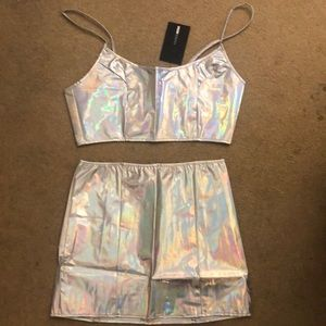2 Piece Holographic Skirt Set - Brand New!